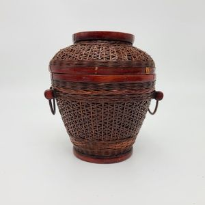 Hand Woven Wicker Basket, Red, Vintage Chinese